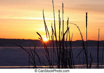 riverside at winter sunset