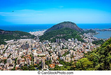 View on Rodrigo de Freitas Lagoon and Zona Sul, Rio de Janeiro, Brazil
