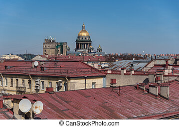 View on roofs of old buildings historic center of Sankt ...