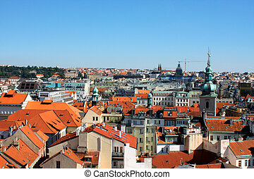 view on roofs of Prague in Czech Republic