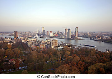 View on Rotterdam with the river Meuse in the Netherlands