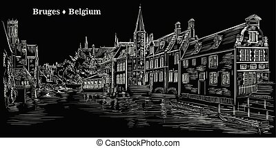 View on Rozenhoedkaai water canal in Bruges, Belgium, Europe, black