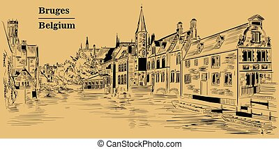 View on Rozenhoedkaai water canal in Bruges, Belgium, Europe, brown
