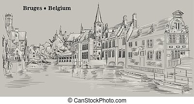 View on Rozenhoedkaai water canal in Bruges, Belgium, Europe, grey