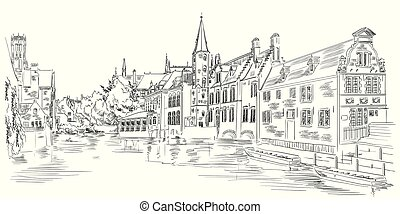 View on Rozenhoedkaai water canal in Bruges, Belgium, Europe