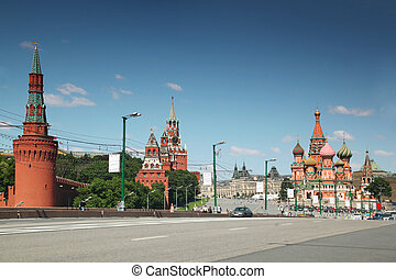 view on saint Basil cathedral and Kremlin in Moscow, Russia summer day