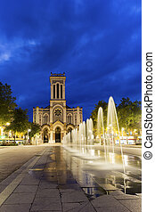 View on Saint-Etienne Cathedral in France in the evening