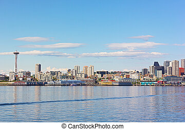View on Seattle downtown from the waters of Puget Sound. ...