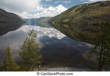 View on Siberian mountain Lake Kara-Hol