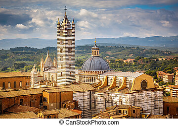 View on Siena Cathedral - Aerial view over Siena: Siena...