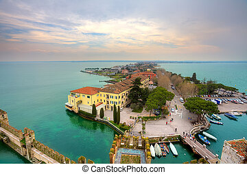 View on Sirmione and Lake Garda fro the castle.