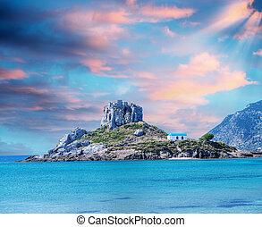 View on small island of Kastri near Kefalos town, Kos island (Gr