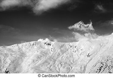 View on snowy off-piste slope. Caucasus Mountains, Georgia,...