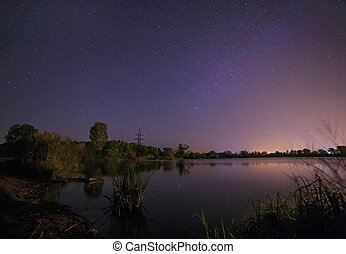 starry night sky above lake