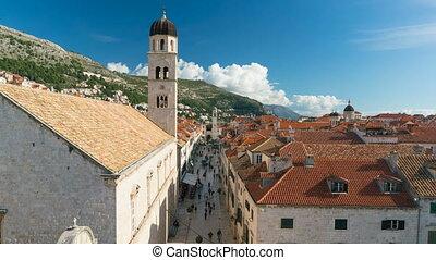 View on Stradun Street from Dubrovnik City Walls, Croatia -...