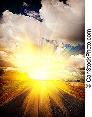 view on sunrise on road in field field instagram stile