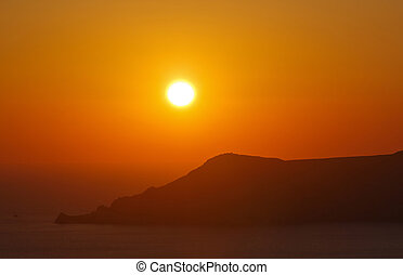 view on sunset in Fira town