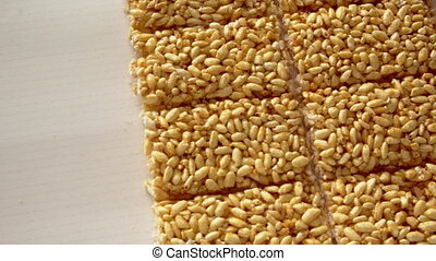 view on sweet rice grain snacks - ready-made sweets...
