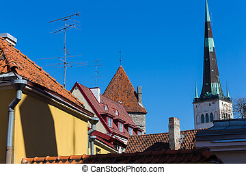 View on Tallinn beautiful red tile roofs