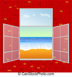 view on the beach from window vector illustration