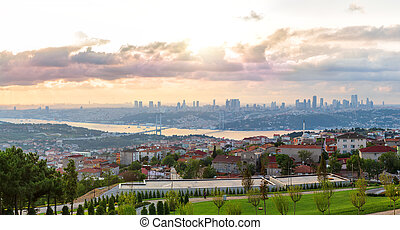 View on the Bosphorus Bridge and Istanbul skyscrappers from Camlica Hill, Turkey