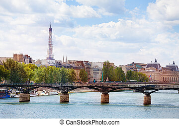 View on the bridge Pont des Arts in Paris downtown
