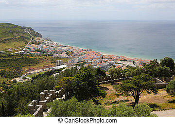 View on the center of Sesimbra, Portugal, from the famous Moorish castle.