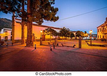 View on the central square in San Bartolome de Tirajana town