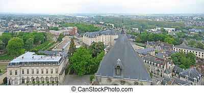 View on the city from the Saint Etienne cathedral church tower - Bourges - France - Panorama.
