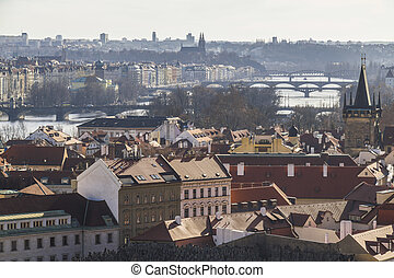 View on the city of Prague from castle hill