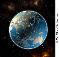 View on the Earth from space showing Asia and Australia - Elements of this image furnished by NASA