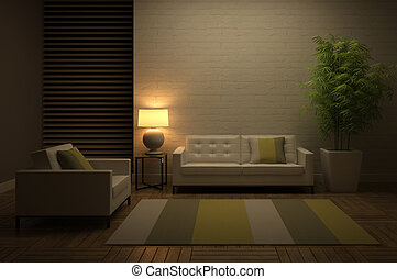 View on the evening interior 3D rendering