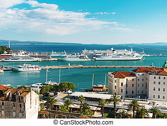 View on the Ferry port of Split, Croatia.