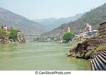 View on the Ganga at Laxman Jhula in India