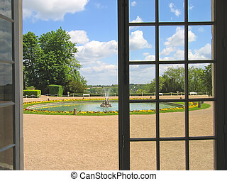 View on the garden through the large window, Valencay french castle, France