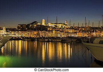 View on the harbor in Cannes on French Riviera