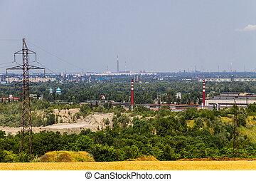 View on the industrial district in Kremenchug city, Ukraine