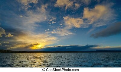 View on the lake and sky during sunset at El Calafate ....