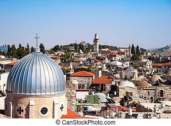 Jerusalem Old City - View on the landmarks of Jerusalem Old ...