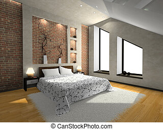 View on the modern bedroom 3D. Photo in magazine was made by...