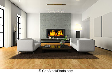 View on the modern interior with fireplace 3D rendering