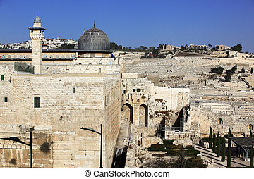 View on the Mount of Olives and Al-Aqsa mosque in Jerusalem, Israel