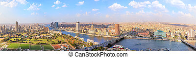 View on the Nile in Cairo, panorama from above, Egypt