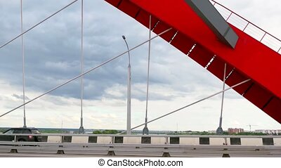 View on the Novosibirsk city and road through the bridge with cloudy sky and moving cars