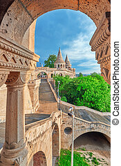 View on the Old Fisherman Bastion in Budapest. Arch Gallery.