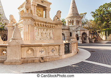 View on the Old Fisherman Bastion in Budapest, Hungary.
