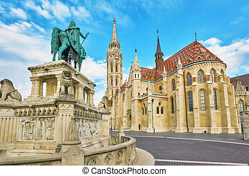 View on the Old Fisherman Bastion in Budapest. Statue Saint...