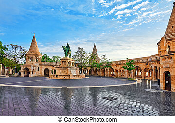 View on the Old Fisherman Bastion in Budapest. Statue Saint Istvan