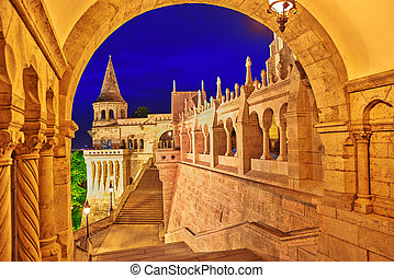View on the Old Fisherman Bastion in Budapest. Night time.
