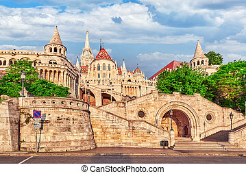 View on the Old Fishermen Bastion in Budapest at morning time.